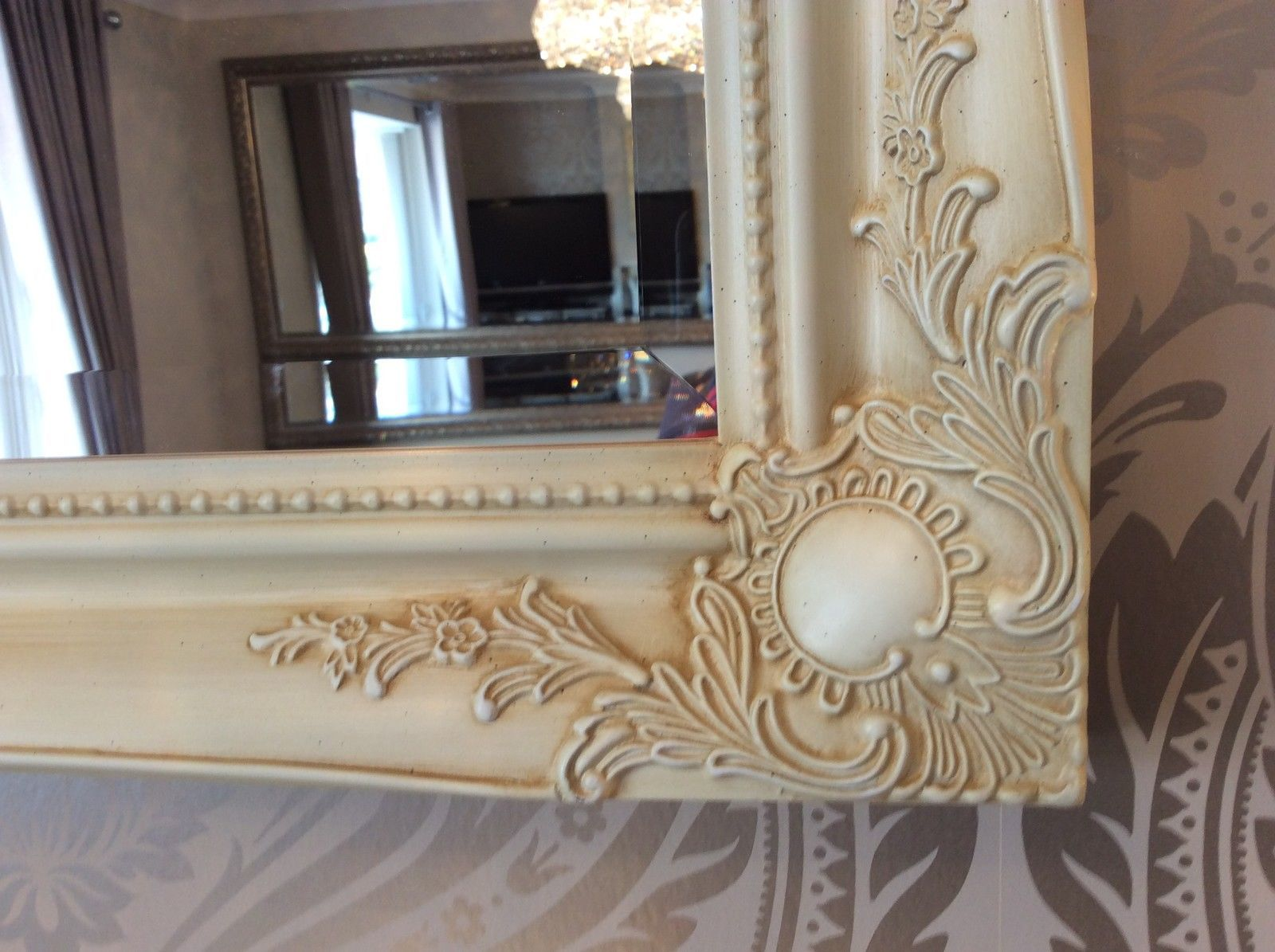 Fabulous Fabulous Large CREAM Decorative Stunning Shabby Chic Wall Mirror  UB62
